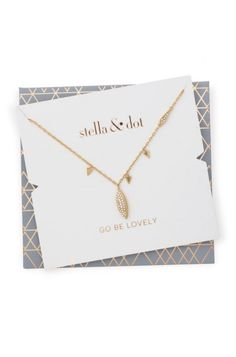Aurora Drop Necklace - available 10/8 at www.stelladot.com/sarahtaliaferro - Reversible pave drop suspends from a shiny gold chain to create a delicate layering necklace. Looks great layered with the Aurora Necklace in gold! Comes in specialty packaging with self-envelope.