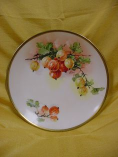 Hand Painted Fruit and Flowers Wooden Plates  Set of 6