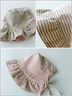 Sewing - Reversible bonnet can be flipped over and worn on either side! It's great for outdoor walks for the baby. Easy to make, it's a perfect gift for a special little girl! Size: Includes 3 months through Skill Level: Beginner -Sewing - Patterns for Ch Baby Sewing Projects, Sewing For Kids, Sewing Ideas, Sewing Crafts, Sewing Clothes, Doll Clothes, Couture Bb, Couture Sewing, Baby Bonnets