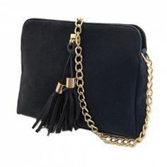 Fashion Women's Shoulder Bag With Metallic Chain and Tassels Design