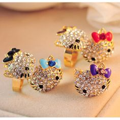5 colors Lovely hello kitty Jewelry Crystals Lady Rings gold color Resizable Fashion Party Child Girls rings Gift Accessories
