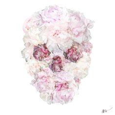 Peonies Skull Flower by Jessica Rae Sommer. Drawing, digital...