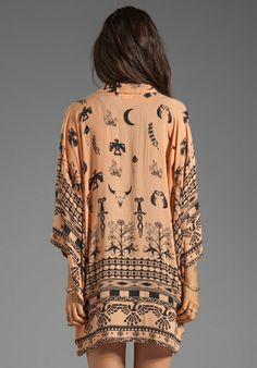SPELL & THE GYPSY COLLECTIVE- Boho Tribal Kimono in Peach