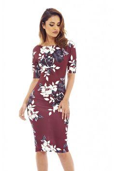 AX Paris Womens Burgundy 3/4 Sleeve Floral Bodycon Dress Glamorous Fashion