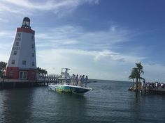Where else can you get married and have the Groom with all the Groomsmen make a Grand Entrance on a Boat? #FaroBlancoResort #GrandEntrance #Wedding #BoatRide #Lighthouse #DestinationWedding #FLKeys