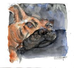 My nephew, Joe the Boxer was dying to be painted. See my Etsy shop - NuttDraws to buy a high quality print for $35 plus shipping.  I love commissions as well. Thanks for looking and I hope you enjoy it!