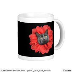 """Cat Flower"" Red LOL Funny Classic White Coffee Mug"