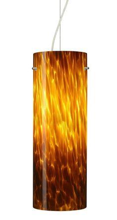 Besa Lighting 1KX-412818 Tondo 1 Light Cable-Hung Pendant with Amber Cloud Glass Satin Nickel Indoor Lighting Pendants