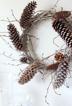 Woodland Wreath with Twigs and Pine Cones   DIY Wreath   Satori Design for Living