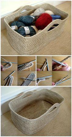 Crochet Projects Ideas Crochet Rope Basket DIY Project - 10 Free Crochet Basket Patterns for Beginners Beau Crochet, Crochet Fox, Crochet Gifts, Crochet Stitches, Crochet Bags, Crochet Ideas, Single Crochet, Crochet Simple, Crochet Storage