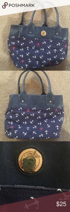 """Tommy Hilfiger anchor purse TOMMY HILFIGER CANVAS ANCHOR TOTE Hip and stylish canvas tote with faux leather handle by Tommy Hilfiger. Has roomy interior. Length is 14"""", height is 12.5"""" and depth is 5"""". Tommy Hilfiger Bags Totes"""