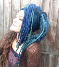 The 'Nerida' Felted Mermaid Dread Wrap, Headscarf, Turban with Oodles of Felted Dreadlocks, Boho, Gypsy, Wearable Art Scarf