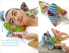 Tutorial: Make this neck support pillow in just 30 minutes – neck pillow pattern Neck Support Pillow, Support Pillows, Neck Pillow, Tie Pillows, Sewing Pillows, Sewing Hacks, Sewing Crafts, Leftover Fabric, Love Sewing