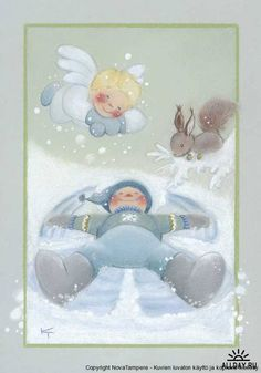 View album on Yandex. Christmas Illustration, Illustration Art, Angel Drawing, Creation Photo, Winter Images, Funny Drawings, Snow Angels, Christmas Pictures, Kids Playing