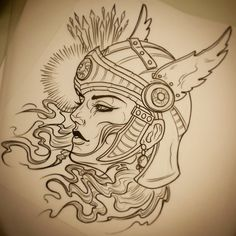 Just whipped up this helmeted lady, would love to tattoo her colour or black/grey. Contact @pacificink_terrigal or email daveolteanuart@hotmail.com if you're interested. @inkjecta @sullenclothing...