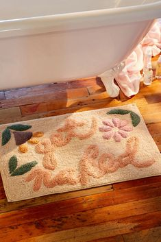 Shop Get Naked Floral Bath Mat at Urban Outfitters today. We carry all the latest styles, colors and brands for you to choose from right here. Boho Bathroom, Bathroom Rugs, Bathroom Storage, Modern Bathroom, Small Bathroom, Bathroom Ideas, Bathroom Inspo, College Bathroom Decor, Peach Bathroom