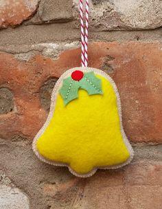 Felt christmas bell ornament