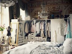 "Make your whole room a closet..fabulous!!This is  no joke, I may have to do this in ""my small space""."