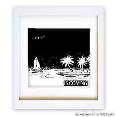 << SEASONS COLLECTION >> Summer...  is coming   Illustrator & Wacom Tablet   #illustrator #illustration #wacom #night #painting #art #summer #black #white #seasons