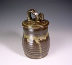 Kitchen canister storage jar ceramic lidded by WillowTreePottery, $30.00