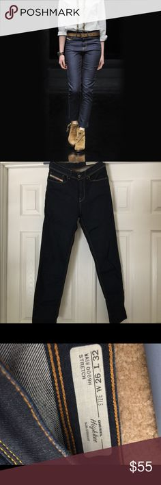 Highkee slim straight diesel size 26 high rise Wore them two hours.  They are gorgeous pair ankle boots.  Bought them in hopes to lose weight but that did not happen.   I did wash them as soon as I bought them. Diesel Jeans Straight Leg