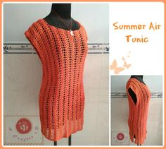"""Crochet lacy tunic top for Spring and Summer. Made by light weight mercerized cotton yarn and vivid color. This one is an easy breezy crochet project for beginners."""