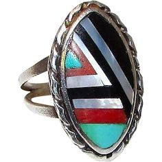 Vintage Native American Zuni Sterling Silver Turquoise Coral Mop Jet Inlay Ring in Size 6