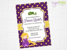 Princess RAPUNZEL Birthday Invitation Tangled por SugarPickleParty
