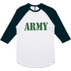 theIndie ARMY Stencil (Green) 3/4-Sleeve Raglan Baseball T-Shirt
