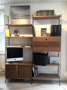 String Furniture Walnut and Black Shelving System Small Furniture, Design Your Own, Your Space, Corner Desk, Shelving, Interior, Deck, Home Decor, Classic