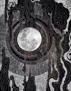 Cosmic Art Print   Black and White Moon Illustration   Graphic Design   Cosmic