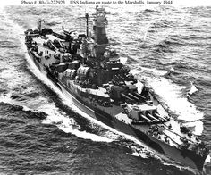 USS Indiana Steaming with Task Force on 27 January en route to attack Taroa Island airfield, Maloelap Atoll, Marshall Islands. Taken by a USS Enterprise photographer. Navy Photograph, now in the collections of the National Archives. Naval History, Military History, Ww2 History, Uss Indiana, Uss Enterprise Cv 6, Uss Oklahoma, Iowa, Us Battleships, Heavy Cruiser