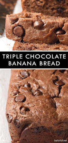 This Triple Chocolate Banana Bread is packed with ripe bananas yogurt and three different kinds of chocolate chips. Sweet moist easy and so delicious! Chocolate Banana Bread, Chocolate Muffins, Chocolate Recipes, Chocolate Chips, Dog Cake Recipes, Banana Bread Recipes, Dessert Recipes, Breakfast Recipes, Dessert Bars