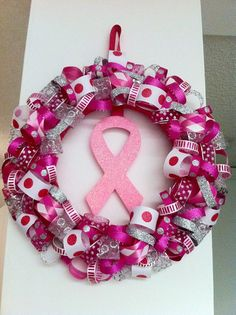 Breast Cancer Awareness Wreath I think I'm going to make this for October