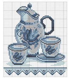 Blue jug with cups chart Cross Stitch Samplers, Cross Stitch Charts, Cross Stitching, Cross Stitch Patterns, Blackwork Embroidery, Cross Stitch Embroidery, Embroidery Patterns, Delft, Cross Stitch Silhouette