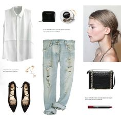 Lace up Flats by bellamarie on Polyvore featuring River Island, Burberry, Valentino and NARS Cosmetics