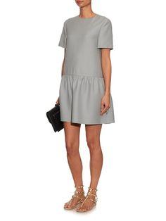 Valentino Peplum panel wool and silk-blend dress