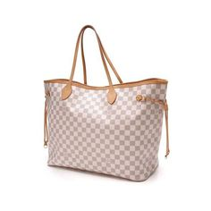 Pre-Owned Louis Vuitton Neverfull GM Tote Damier Azur Bag ($900) ❤ liked on Polyvore featuring bags, handbags, tote bags, canvas tote, hand bags, canvas pouch, pink tote and striped canvas tote