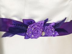 Purple Bridal Sash with Purple Feathers Purple by EuphoriaRoad, $54.00
