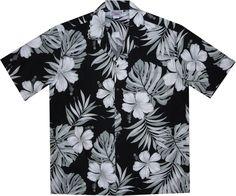 Waikiki Black Hawaiian Cotton Aloha Shirt