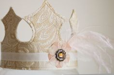 Girl's Fabric Crown  Ivory Floral with pink by HarperJosBoutique, $28.95