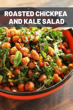 A hearty salad of chickpeas roasted with cumin and paprika until dense and nutty, combined with kale, fresh herbs, pine nuts, and sun-dried tomatoes. This is a salad that gets even better on the second day. Chickpea Recipes, Kale Recipes, Lunch Recipes, Healthy Recipes, Healthy Foods, Kale Salad, Vegetable Salad, Soup And Salad, Sun Dried Tomato Vinaigrette Recipe