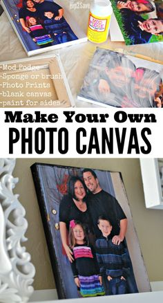 Here's How to EASILY Make Your Own at Home… – Make your own photo canvases at home with this EASY Mod Podge craft! Canvas Photo Transfer, Foto Transfer, Photo Canvas, Diy Home Crafts, Cute Crafts, Diy Crafts To Sell, Wood Crafts, Stick Crafts, Frame Crafts