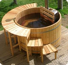 Wooden hottub on wood fire
