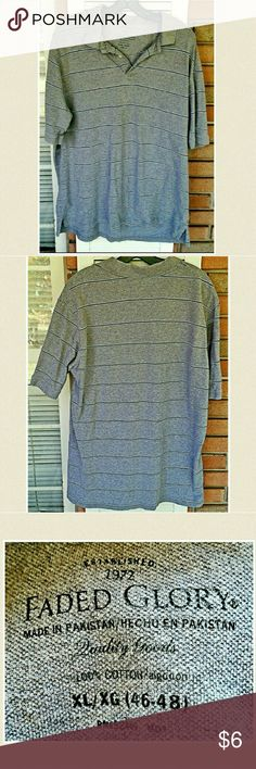 "Gray/blue striped polo by Faded Glory 100%cotton. Machine wash cold, tumble dry low.#fadedglory#szxl ?Scrubs, Jewelry& FALL/WINTER CLOTHING BOGO 50% OFF!! BUY ANY 3 ITEMS &GET ONE FREE!!? 30%bundle discount! LET ME CREATE YOUR BUNDLE SO YOU RECEIVE THE BEST DISCOUNT!!:) (Once you are ready to purchase, comment ""bundle"" and I'll do the rest!) Faded Glory Shirts Polos"