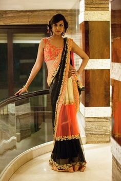 Orange and black sari by Peppermint Diva - Not a huge fan of the blouse but i really do love the colors of this saree! Indian Wedding Outfits, Indian Outfits, Indian Clothes, Emo Outfits, Indian Weddings, India Fashion, Asian Fashion, Punk Fashion, Lolita Fashion