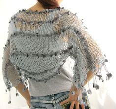 COTTON SHRUG Elegant Hand Knitted Summer Shrug in Gray by Rumina