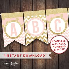 Pink birthday banner, Birthday bunting, pink printable banner, happy birthday, birthday flag, gold chevron, party bunting, party banner by PaperSparkleDesigns on Etsy