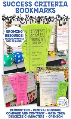 Success Criteria Bookmarks for ELA 5th Grade Ela, 3rd Grade Writing, 5th Grade Classroom, Grade 3, Fourth Grade, Second Grade, Paragraph Writing, Opinion Writing, Writing Rubrics