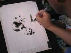 Visit http://www.blueheronarts.com for original art and supplies. Explore the wet-in-wet technic in sumi-e or Chinese brush painting. Giant panda with a baby...
